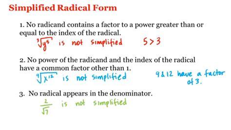 simplified radical form