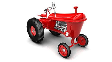 vintage red tractor  farming   model max obj ds