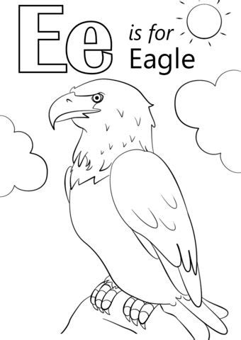 Letter E is for Eagle coloring page from Letter E category