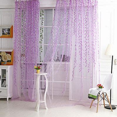 warm family 1x2m leaf print sheer curtain panel window