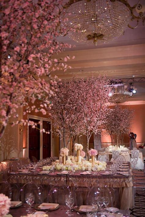 silk cherry blossom trees centerpiece  wedding
