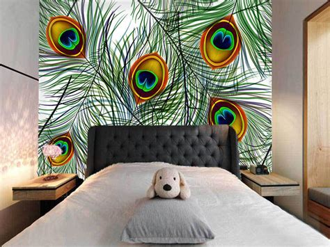 peacock feather wall murals wallpaper decal decor home
