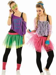 Ladies 1980s Tutu Kit Adults Neon Disco Fancy Dress Womens ...
