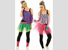 Ladies 1980s Tutu Kit Adults Neon Disco Fancy Dress Womens