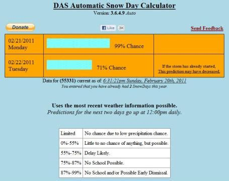 Snow Day Calculator by The Snow Day Calculator The Orchard Park Voice