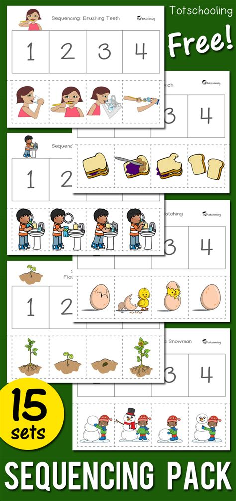 sequencing activity pack totschooling toddler 504 | Sequencing Pack