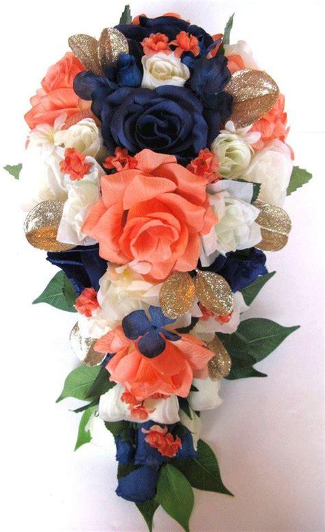 Coral Wedding Bouquet Bridal Bouquets Silk Wedding Flowers