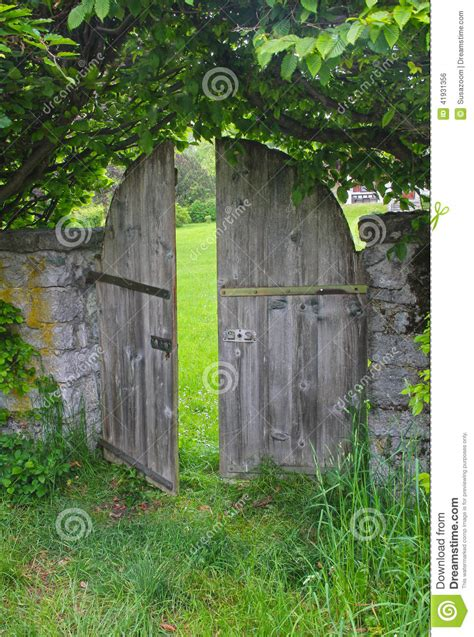arched garden door framed  beech hedge stock photo