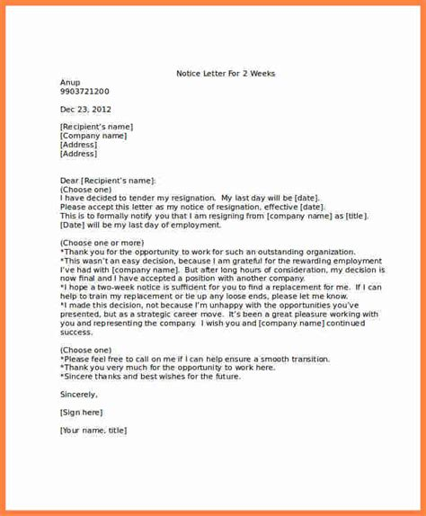 2 week notice letter for work awesome 2 week notice letter for work cover letter exles 49904