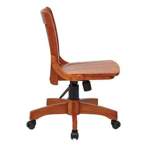 deluxe armless wood bankers chair with wood seat fruit