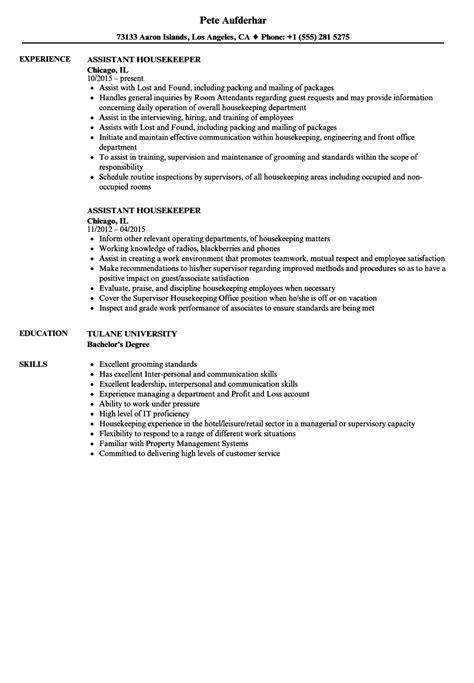Housekeeper Resume by 10 Housekeeping Resumes Sles Payment Format