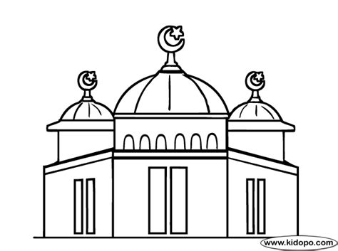 Coloring Mosque by Mosque Coloring Page