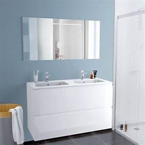 ensemble salle de bains meuble ipoma blanc brillant plan With meuble miroir salle de bain lumineux