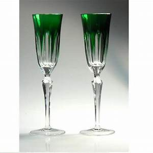 Karin Crystal Champagne Flute Set of 2 Emerald Green