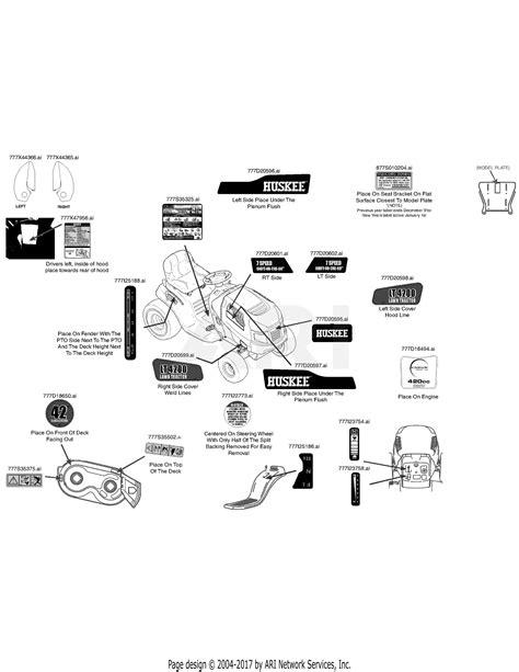 mtd wss lt   parts diagram  label map