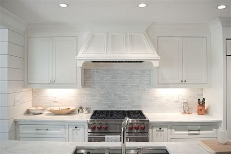 Linear Marble Tile Backsplash   Transitional   kitchen