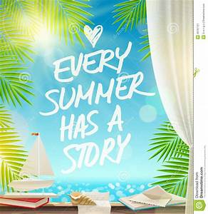 Summer Vacation Design With Hand Drawn Quote Stock Vector ...