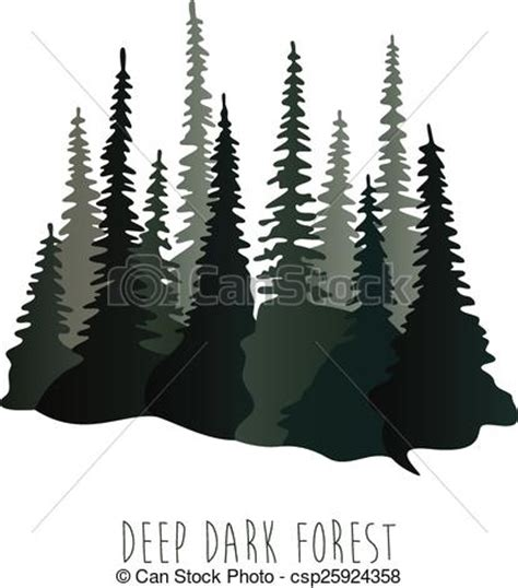 vector flatillustration  thedeep dark forest clipart