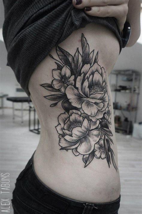 black  white peony flowers tattoo   side rib