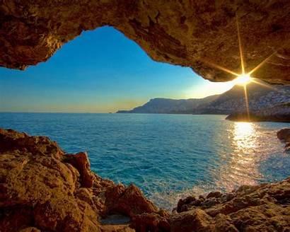 Nature Sea Landscape Sunset Cave Desktop Wallpapers