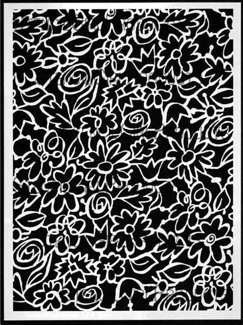 garden flowers  leaves stencil