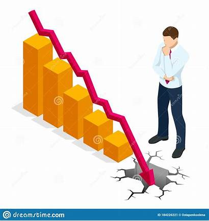 Drop Economy Isometric Crisis Financial Collapse Concept
