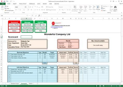 Employee Performance Scorecard Template Excel by Performance Scorecard Builder 2 4 1 0