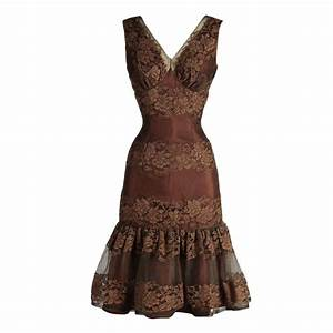 Vintage 1950's Chocolate Brown Lace Cocktail Dress at 1stdibs