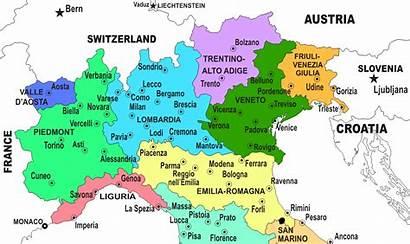Italy Northern Regions Map Italia Norte Lombardy