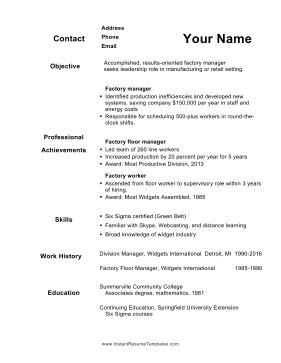 50 plus resume template
