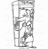 Coloring Phone Booth Cartoon Outline Businessman Toonaday sketch template