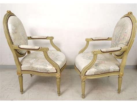 Louis Xvi Armchairs Pair To Queen Lacquered Wood Medallion