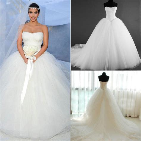 Still White 2015 New Corset Kim Kardashian Bridal Gown Actual Images