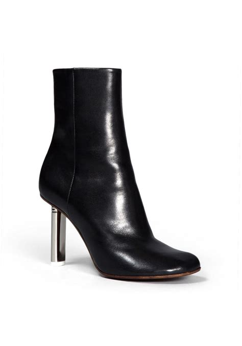 vetements silver heel ankle boots  black leather italian boutique