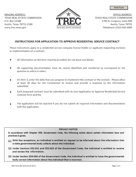 Residential Service Company Application to Approve
