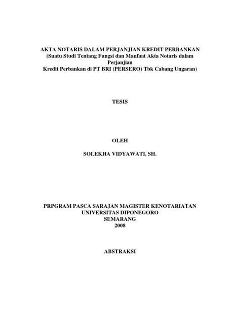 akta notaris  perjanjian kredit perbankan