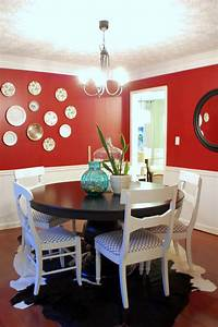 marvelous black wooden pedestal dining table decor with With red dining room wall decor