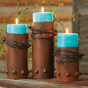 Rustic, Candle, Holders, Set, Of, 3, Barbed, Wire, Candle, Holders, With, Candles