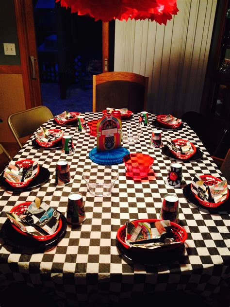 grease sock hop birthday themed party table decor plates