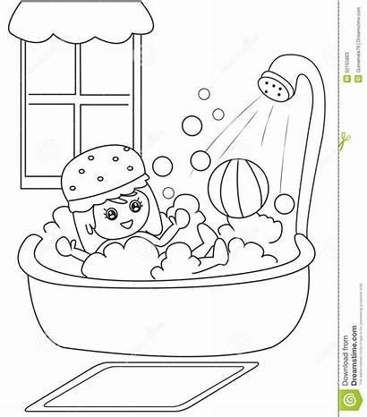 Bath Coloring Taking Clipart Shower Boy Take
