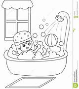 Bath Coloring Taking Clipart Shower Bathtub Take Boy Bathroom Cartoon Sheets Bubbles Illustration Template Useful Clipground Pages Child Sheet Turns sketch template