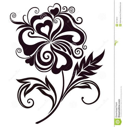 Abstract Flowers Black And White by Abstract Flower Line Stock Vector Image 42179014