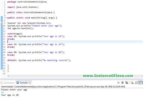 control statements  java  examples tutorial java