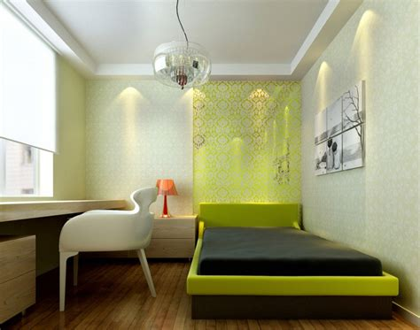 3d Green And White Walls For Minimalist Bedroom Download