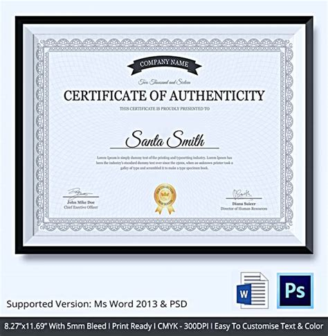 Certificate Of Authenticity Template Certificate Of Authenticity Template What Information To
