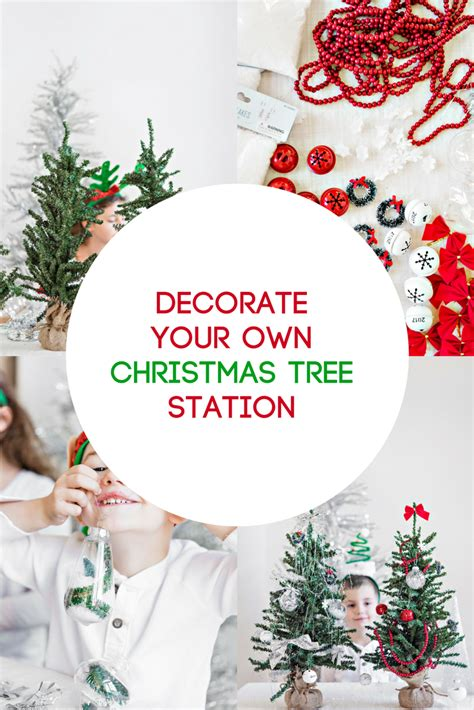 decorate your own christmas tree station for kids in the