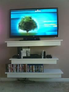 DIY floating shelves under TV.   home decor   Floating ...  Tv