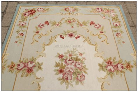 shabby chic area rugs blue ivory w pink rose aubusson area rug free ship wool woven shabby french chic ebay