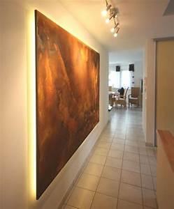 Wand Indirekt Beleuchten : wohnideen wandgestaltung maler der kundenwunsch ein wandpaneel in rostdesign mit indirekter ~ Markanthonyermac.com Haus und Dekorationen
