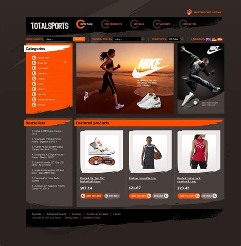 sports templates sports store oscommerce template 33156